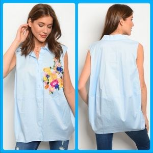 Gorgeous Oversized Embroidered Floral Top